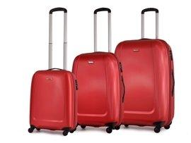 Zestaw trzech walizek PUCCINI ABS01 ABC czerwony